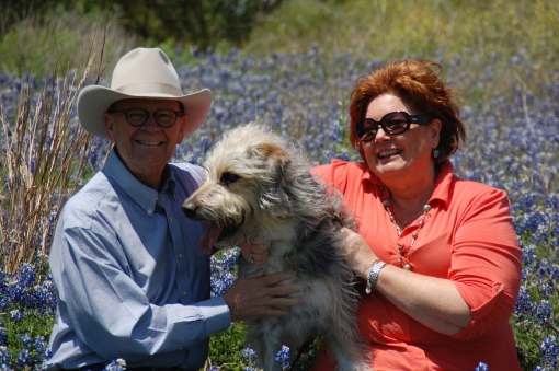 Cancer Boy, Patti and Gillis enjoy the spring bluebonnet blooms near Buda, Texas a few weeks ago.